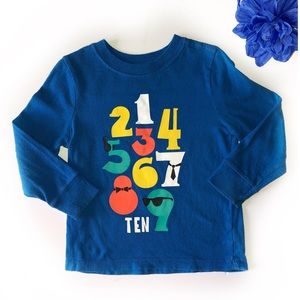 OLD NAVY 3T BOYS NUMBER LONG SLEEVE BLUE SHIRT